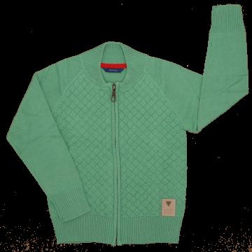 Cardigan verde cu fermoar
