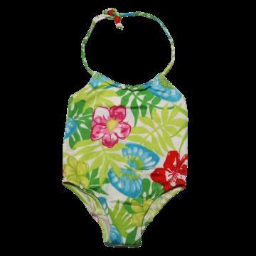 Costum de baie cu imprimeu flori și fluturi