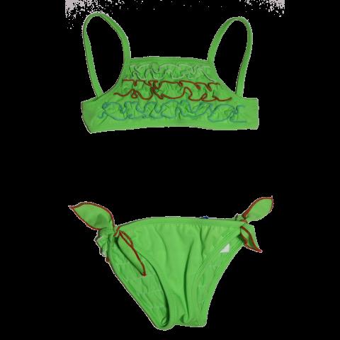 Costum de baie verde cu volănașe