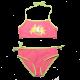 Costum de baie roz și verde