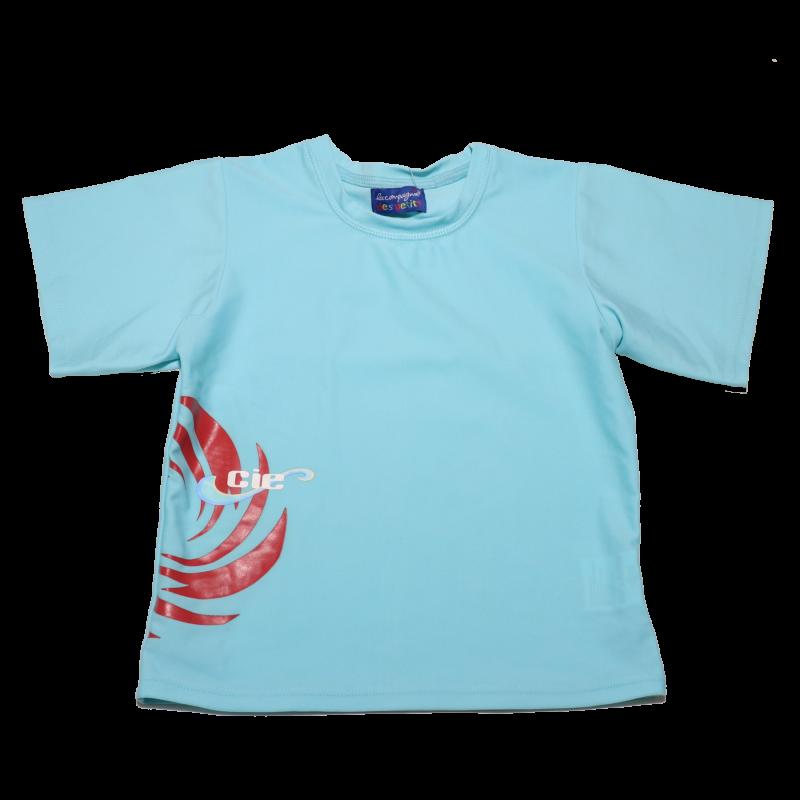 Tricou de baie bleu cu mic imprimeu