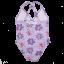 Costum de baie întreg lila cu imprimeu floral