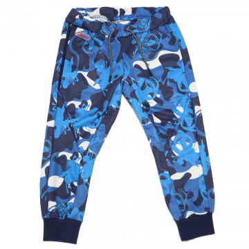 Pantaloni de trening cu imprimeu albastru Regular Fit Platon 103