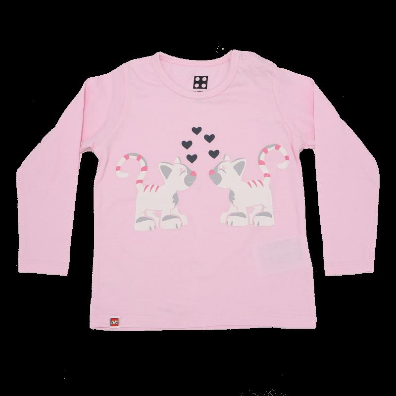 Bluză de pijama roz pal cu imprimeu figurine pisici