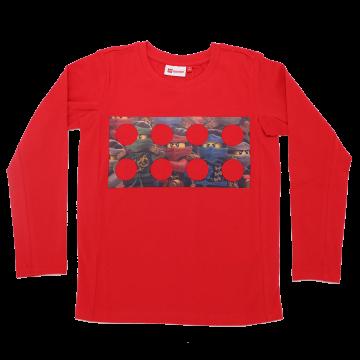 Bluză roșie cu imprimeu figurine