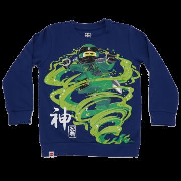 Bluză grosuță albastră cu imprimeu mare Ninjago