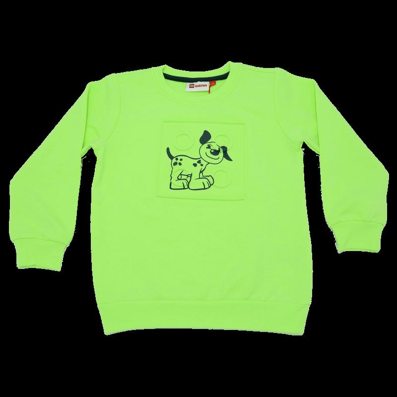 Bluză grosuță verde neon cu imprimeu cățeluș Sirius 321