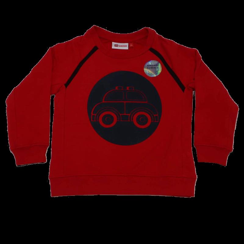 Bluză grosuță roșie cu imprimeu mașinuță Sander 702