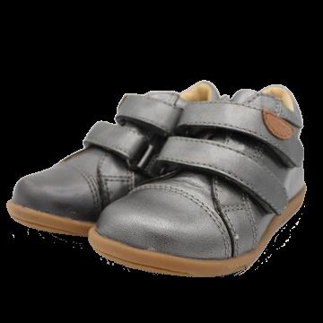 Pantofiori din piele gri metalic/ gri cu sclipici