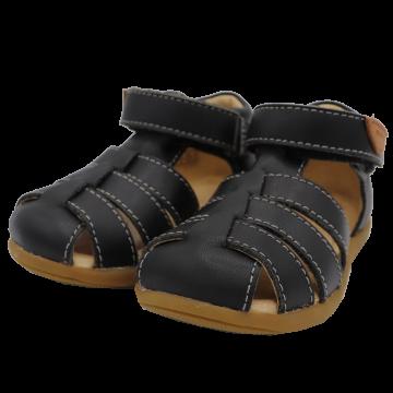 Sandale negre din piele