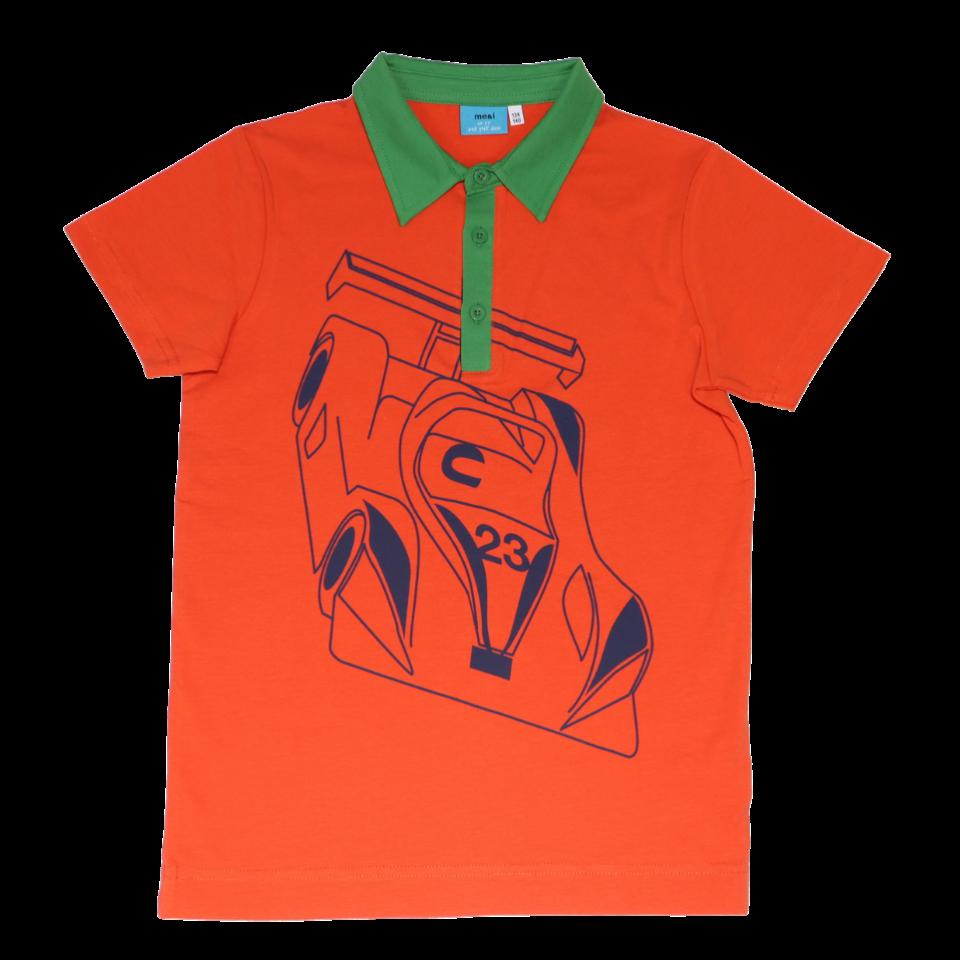 Tricou portocaliu cu imprimeu mare mașină