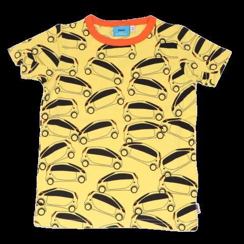 Tricou galben cu mașini electrice
