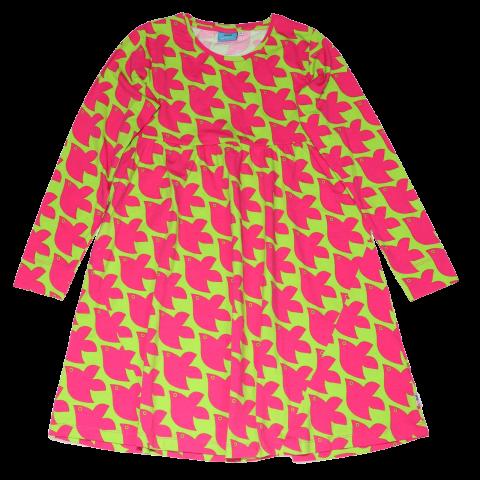 Rochiță lime electric cu imprimeu păsări roz
