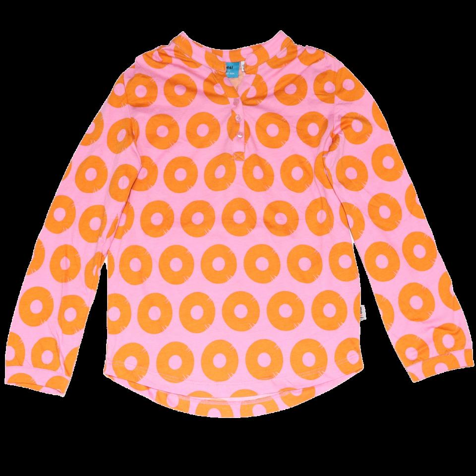 Bluziță roz cu imprimeu ananas din modal și bumbac