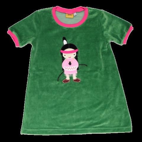Tunică scurtă verde din velur cu aplicație