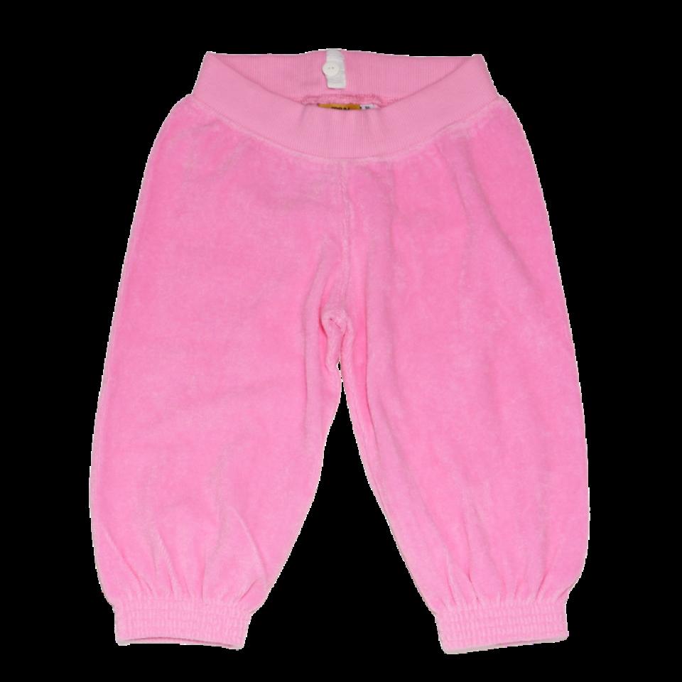 Pantaloni 3/4 roz din bumbac terry
