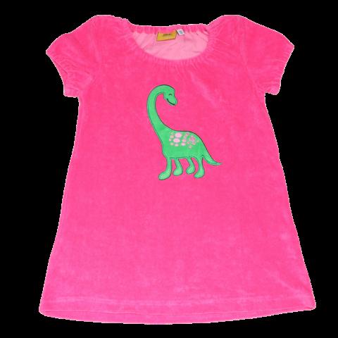 Tunică terry roz cu aplicație dinozaur