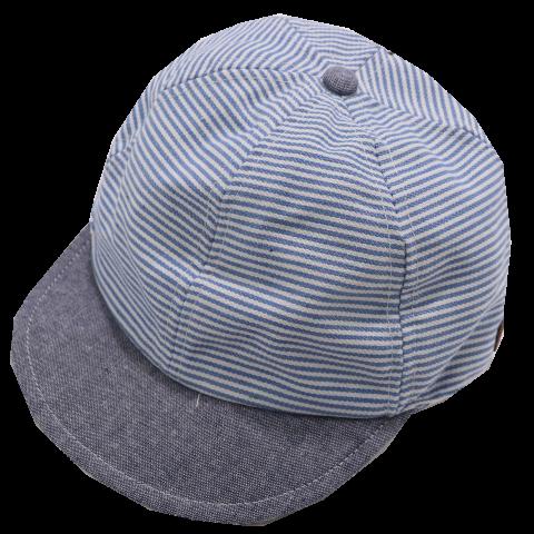 Șapcă bleu/ albastră cu dungi și SPF30 Melton 47cm (12-18 luni) și 55cm (6-8 ani)