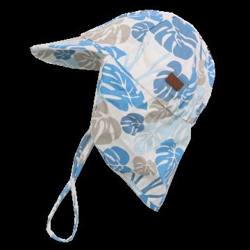 Șapcă din bumbac cu SPF30 și imprimeu albastru