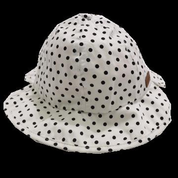 Pălăriuță albă cu buline negre Melton 45cm (6-12 luni)