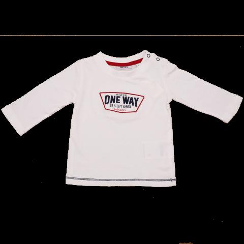 Bluză albă cu mânecă lungă și imprimeu One Way