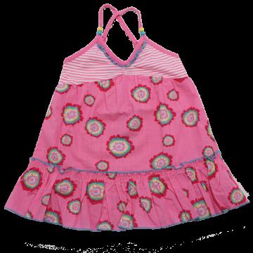 Rochiță roz cu dungi și floricele