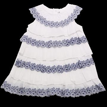 Rochiță albă cu volănașe și flori albastre