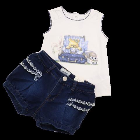Set top alb și pantalonași scurți din denim Mayoral 12-18 luni (86cm)