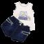 Set top alb și pantalonași scurți din denim