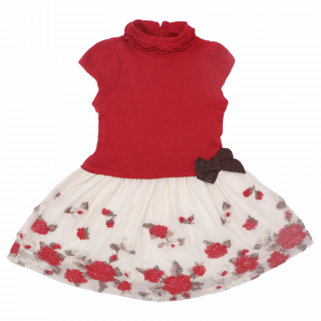 Rochie roșie cu fundiță și detalii din broderie