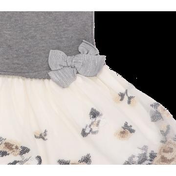 Rochie gri cu tul alb și broderie Mayoral 4-5 ani (110 cm)