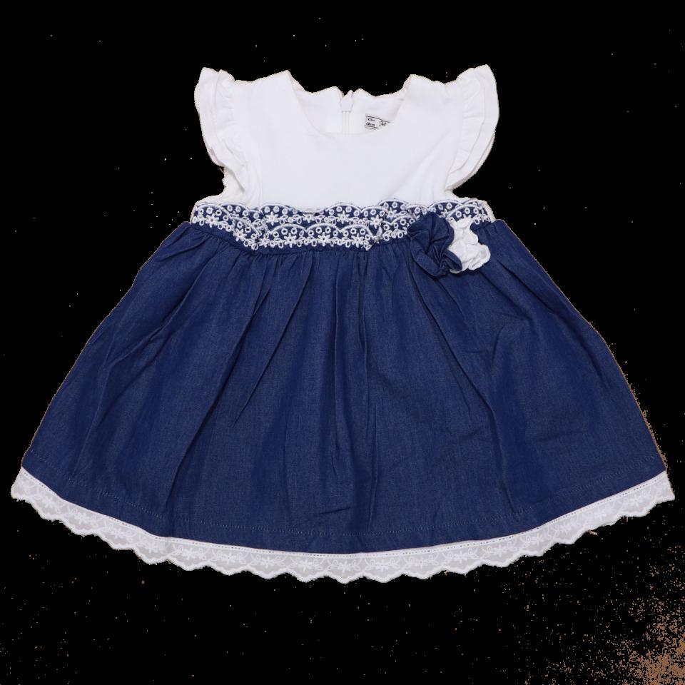 Rochiță delicată alb și bleumarin