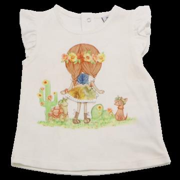 Top cu imprimeu fetiță și fustiță aplicată