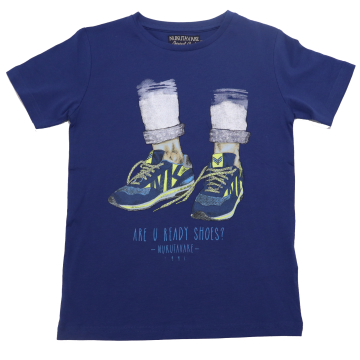 Tricou albastru cu imprimeu Are you Ready Shoes?