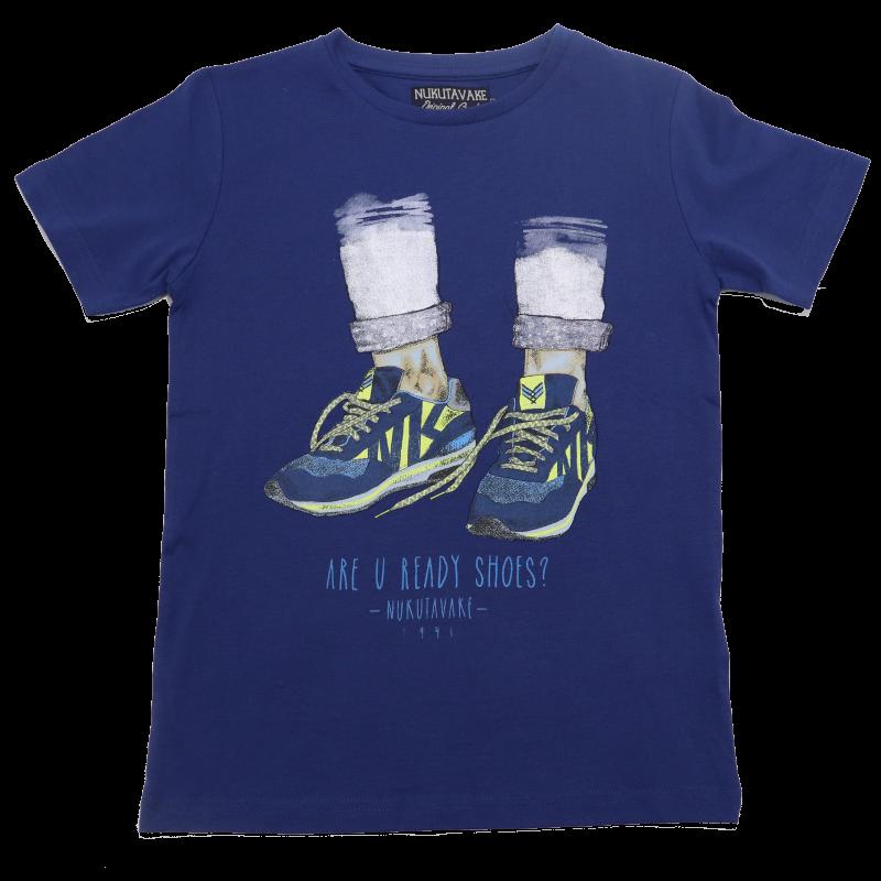 Tricou albastru cu imprimeu Are you Ready Shoes?