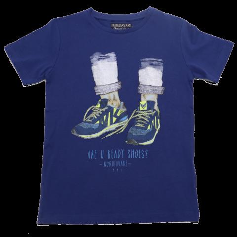 Tricou Albastru cu imprimeu Are you Ready Shoes? Nukutavake
