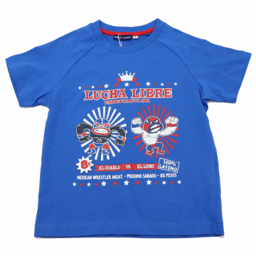 Tricou albastru cu imprimeu Lucha Libre