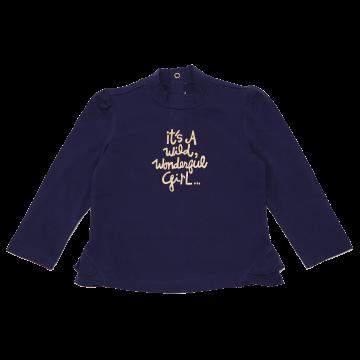 Bluză bleumarin cu imprimeu auriu cu sclipici