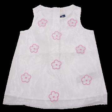 Rochiță albă din voal cu floricele aplicate Original Marines 6-9 luni (74cm)
