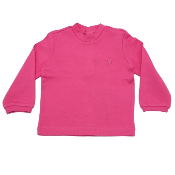 Bluză roz simplă cu ursuleț mic cusut