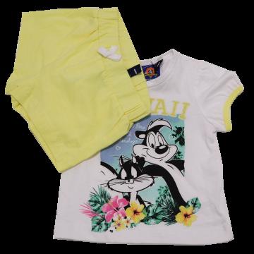 Set tricou și pantaloni scurți Pene le Pew și Penelope Original Marines 3-6 luni (62cm)
