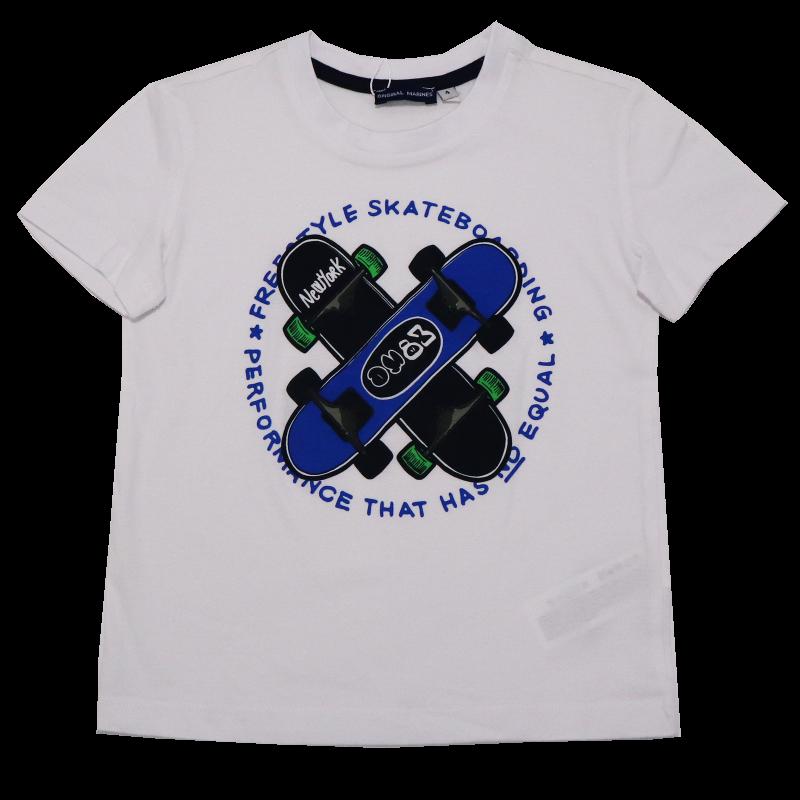 Tricou alb cu imprimeu skateboard