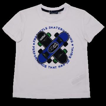 Tricou alb cu imprimeu skateboard Original Marines 3-4 ani (104cm)