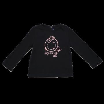 Bluză neagră cu imprimeu roz