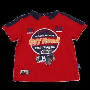 Tricou roșu cu imprimeu Off Road Original Marines 6-9 luni (74cm)