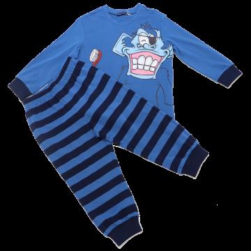 Pijamale albastre cu imprimeu