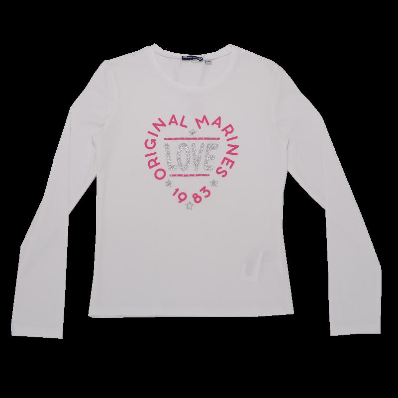 Bluză albă cu imprimeu love și ștrasuri