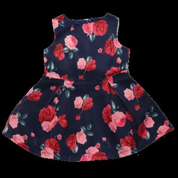 Rochiță din satin cu imprimeu trandafiri
