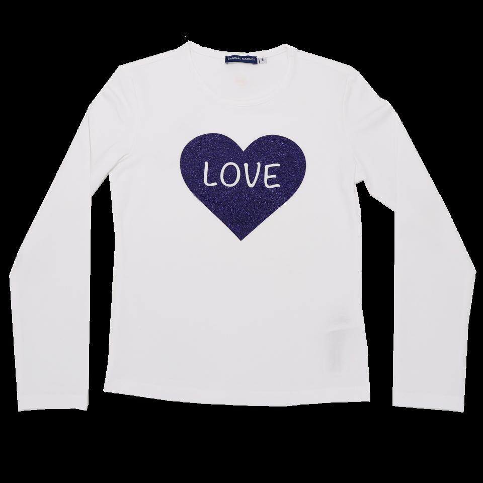 Bluză albă cu imprimeu inimă albastru cu sclipici