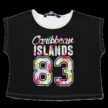 Tricou scurt negru Caribbean Islands